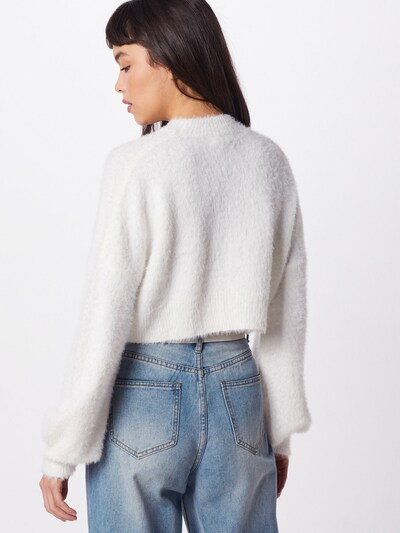 Missguided Trui 'HIGH NECK FLUFFY BALOON SLEEVE JUMPER' in de kleur Wit: Achteraanzicht