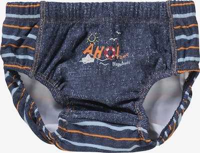 PLAYSHOES Schwimmwindel 'AHOI' in blue denim / hellblau / orange, Produktansicht
