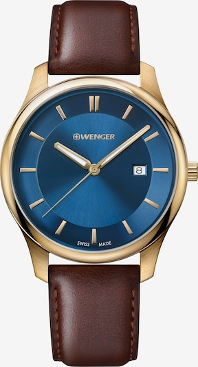 WENGER Analoog horloge 'City Classic' in de kleur Saffier / Donkerbruin / Goud, Productweergave