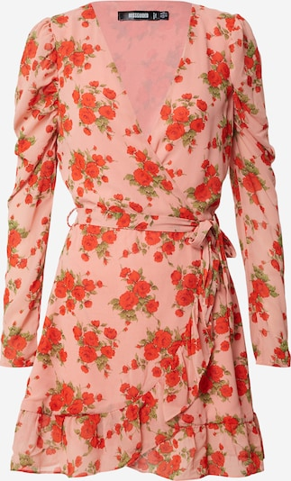 Missguided Robe 'PUFF SLEEVE RUFFLE HEM WRAP TEA DRESS FLORAL' en rose, Vue avec produit