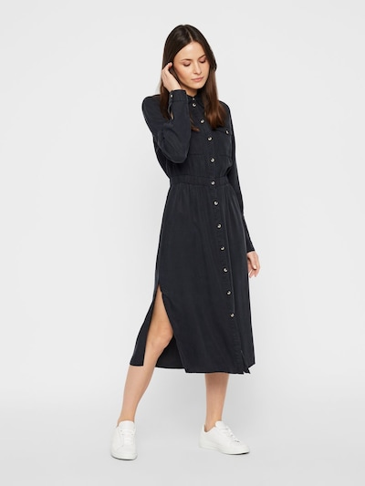 PIECES Blusenkleid 'PCNOLA' in black denim, Modelansicht