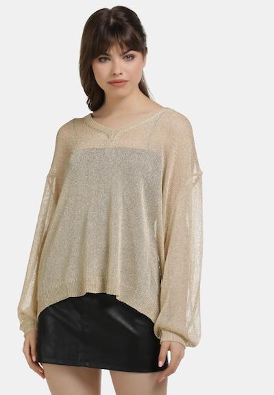 myMo at night Pullover in beige / gold, Modelansicht