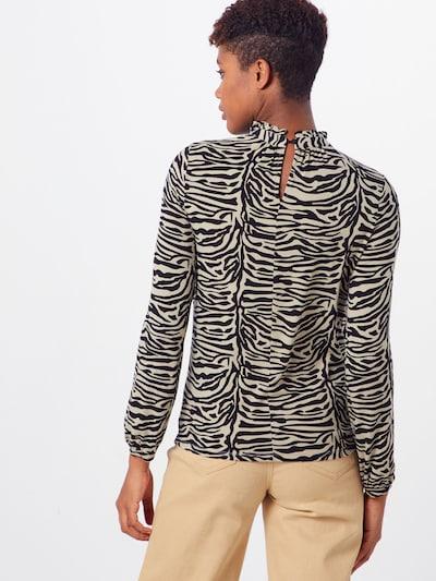 SOAKED IN LUXURY Koszulka 'Drop Print Tee LS' w kolorze khaki / czarnym: Widok od tyłu