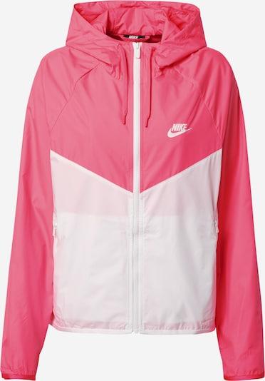 Nike Sportswear Přechodná bunda 'Windrunner' - pink / bílá: Pohled zepředu