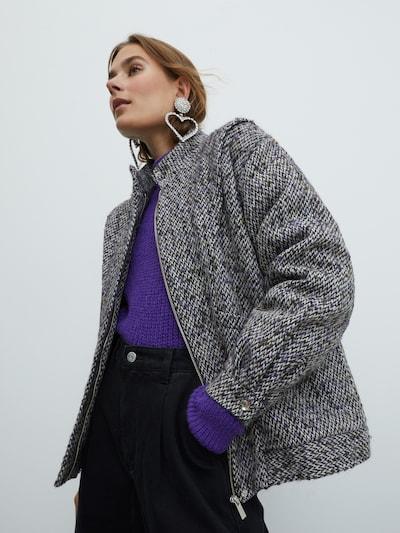 EDITED Övergångsjacka 'Jessie' i grå / grön / burgunder, På modell