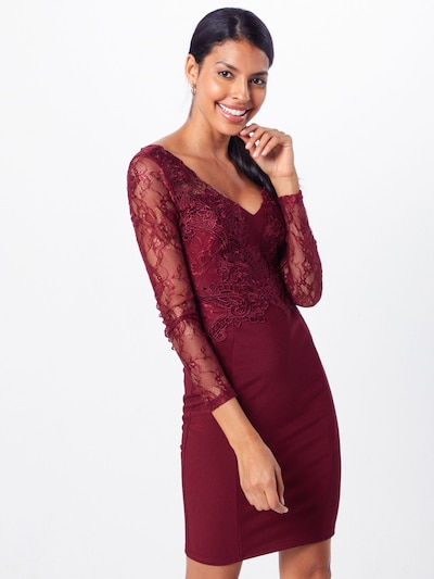 Lipsy Cocktail dress 'WS BRRY LS VNK PLGE' in cranberry, View model