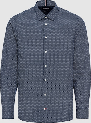 TOMMY HILFIGER Overhemd 'GEO PRINTED SHIRT' in Donkerblauw / Wit