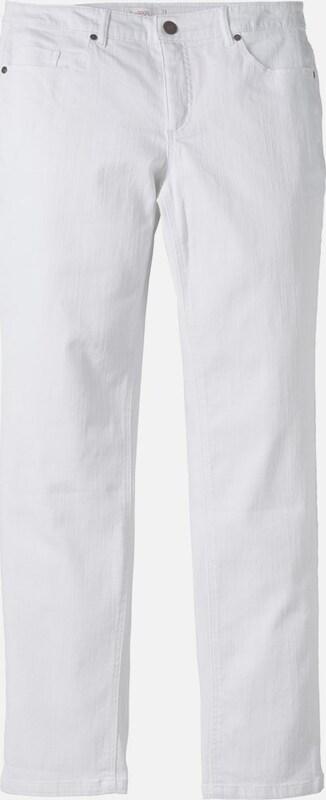 Sheego denim Schmale Stretch-Jeans 'Kira' mit Ziernähten in weiß  Freizeit, schlank, schlank