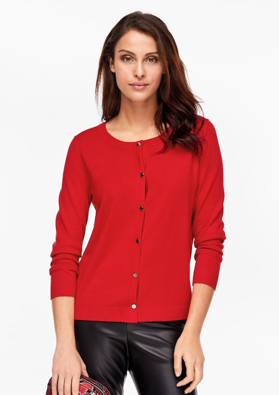 s.Oliver BLACK LABEL Strickjacke in feuerrot: Frontalansicht