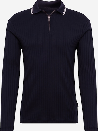 BURTON MENSWEAR LONDON Shirt 'LS RIB ZIP POLO NAVY' in de kleur Navy, Productweergave