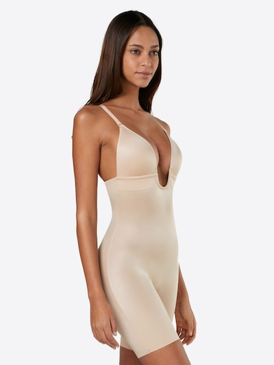 SPANX Bodysuit 'Plunge Low-Back Mid-Thigh Bodysuit' in nude: Frontalansicht