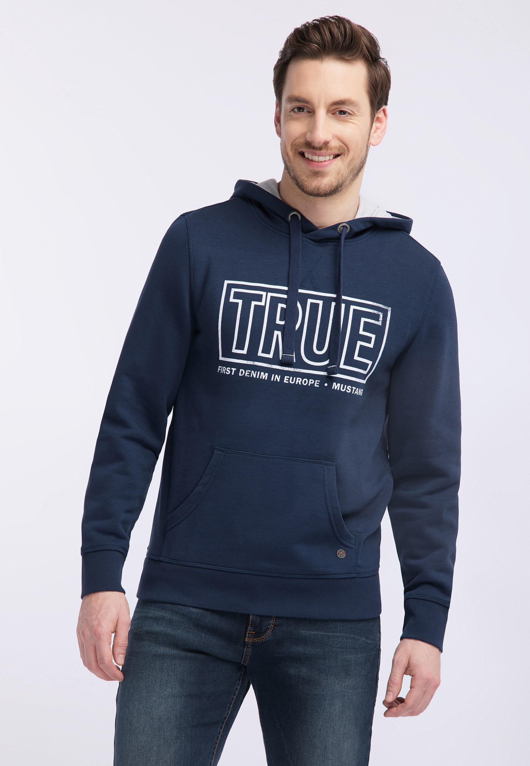 MUSTANG Sweatshirt in dunkelblau / weiß Sweatstoff 1007262000001
