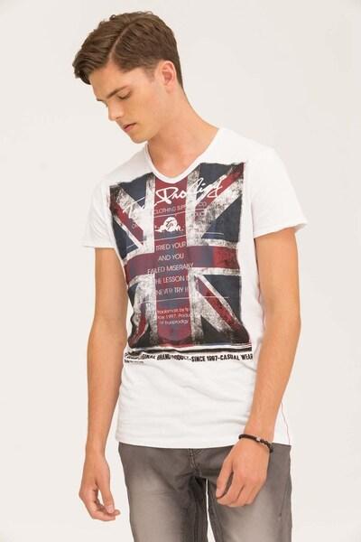 trueprodigy T-Shirt 'EUnion Jack' in kirschrot / schwarz / weiß: Frontalansicht