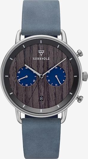 Kerbholz Uhr in taubenblau / dunkelbraun / silber, Produktansicht