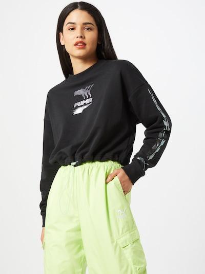 PUMA Sweatshirt 'Evide' in schwarz / silber: Frontalansicht