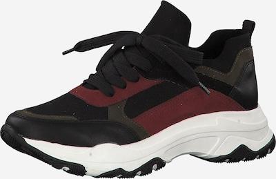 MARCO TOZZI Sneakers laag in de kleur Basaltgrijs / Bordeaux / Zwart, Productweergave