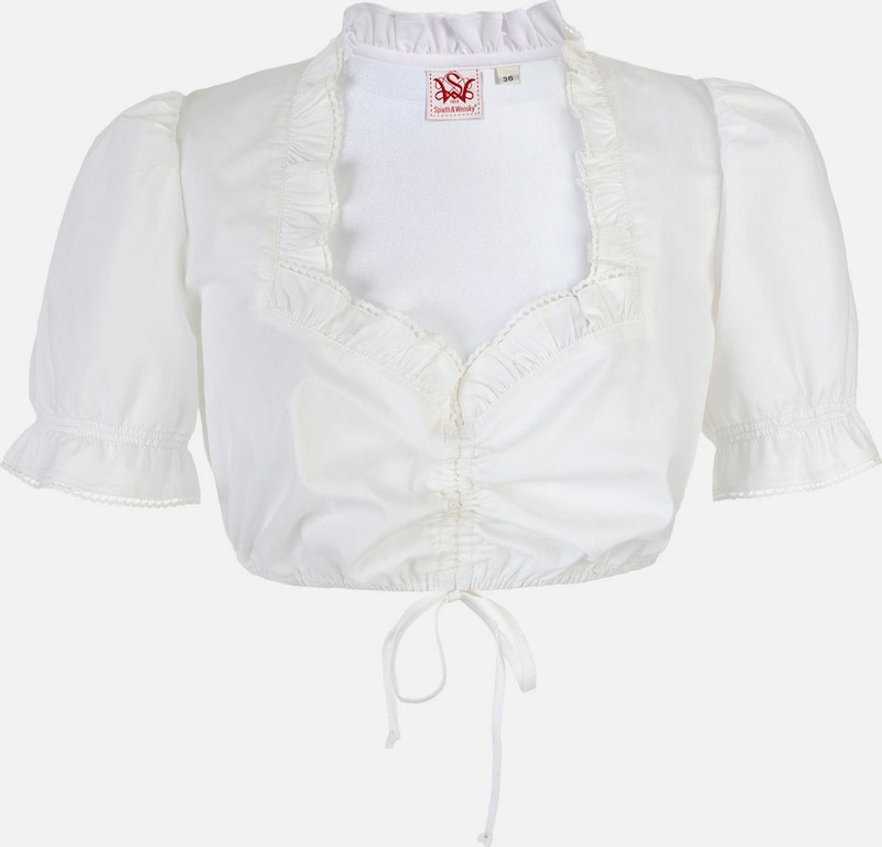 Spieth & Wensky Ladies Dirndl-blouse With Frilly Wilrun Cutout