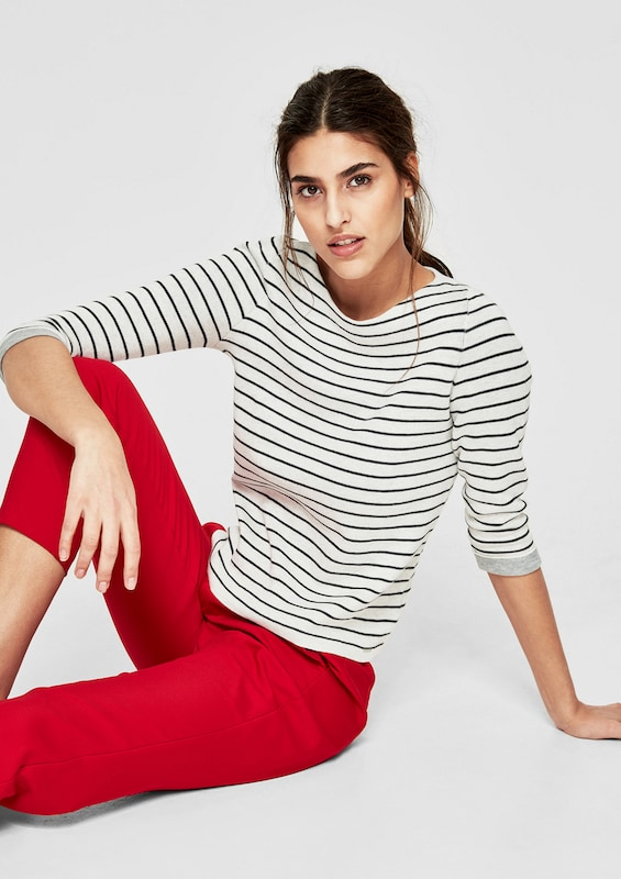 s.Oliver RED LABEL Double-Face-Pulli mit Ringeln