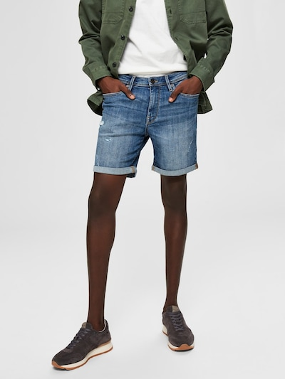 SELECTED HOMME Superstretch Jeansshorts in blau: Frontalansicht