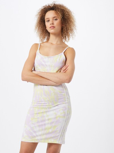 ADIDAS ORIGINALS Kleid in pastellgelb / pastelllila / offwhite, Modelansicht