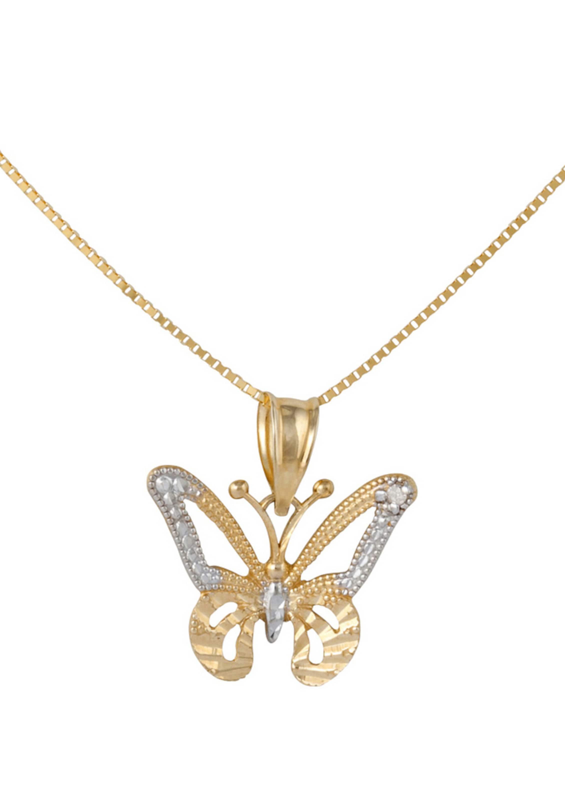 Diamant Mit »schmetterling« GoldSilber Firetti Venzianerkettengliederung Halskette In OnPkN80wXZ