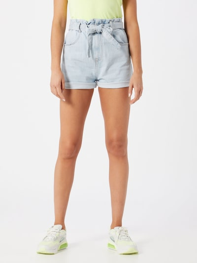 Gina Tricot Jeans 'Paperbag' in blue denim, Modelansicht