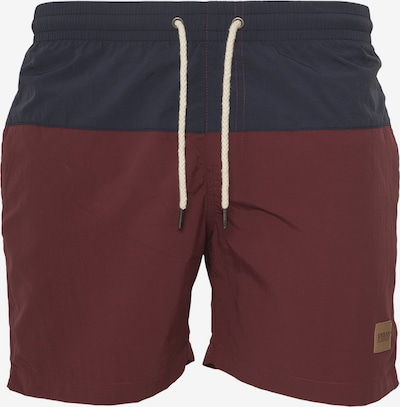 Urban Classics Badeshorts 'Block Swim Shorts' in dunkelblau / bordeaux, Produktansicht