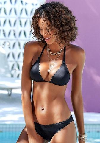 LASCANA Bikinitop 'Scallop' in Schwarz