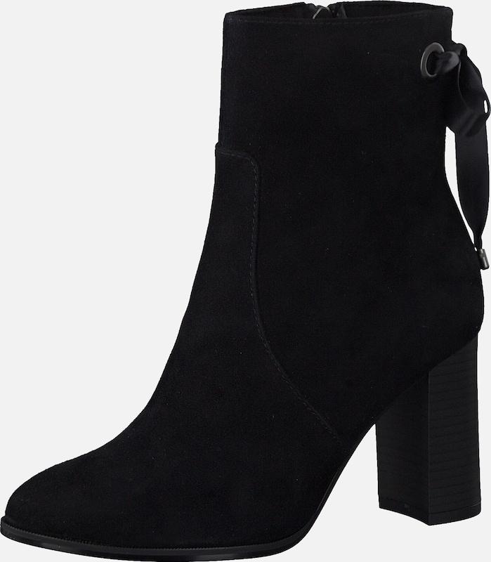 TAMARIS Stiefelette schwarz Leder Runde Kappe Blockabsatz
