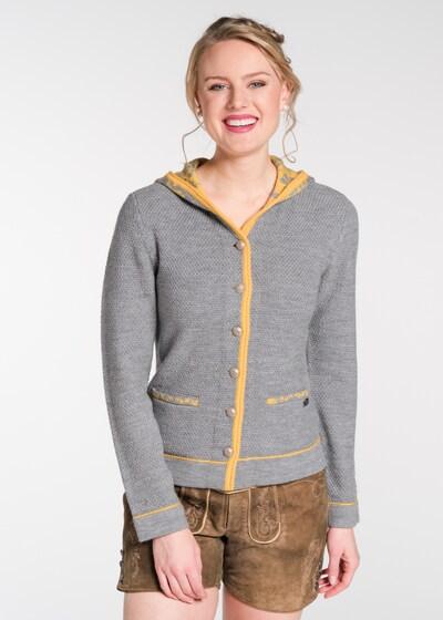 SPIETH & WENSKY Strickjacke 'Nichte' in gelb / grau, Modelansicht
