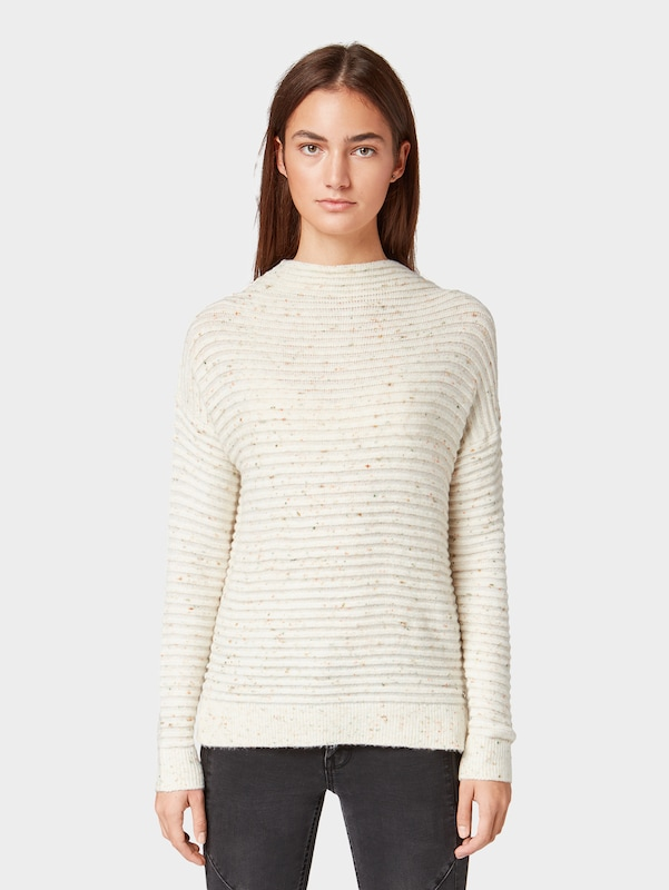 TOM TAILOR DENIM Pullover in beige: Frontalansicht