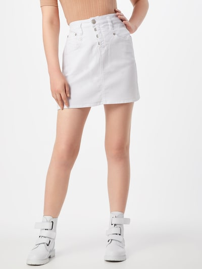 Herrlicher Jupe 'Shyra Skirt Drill Stretch' en blanc: Vue de face