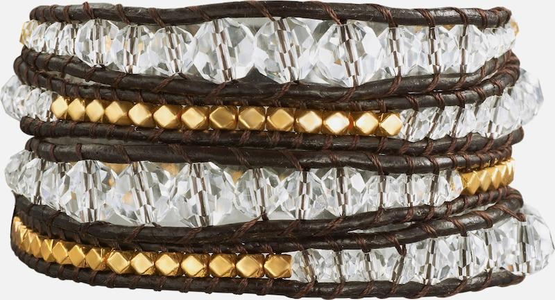 Rafaela Donata Echtlederarmband mit Metallbeads und Glaskristall