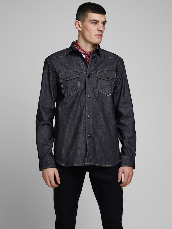 JACK & JONES Jeans Overshirt in blue denim: Frontalansicht