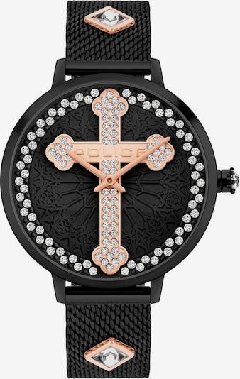 POLICE Uhr in rosegold / schwarz / transparent, Produktansicht