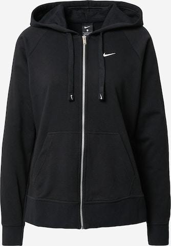 NIKE Athletic Zip-Up Hoodie 'Get Fit' in Black