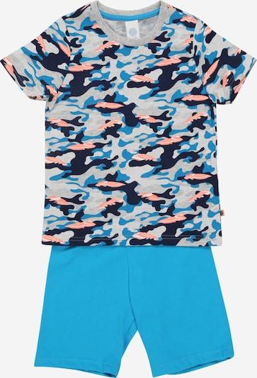 SANETTA Pyjama in türkis / grau / apricot, Produktansicht
