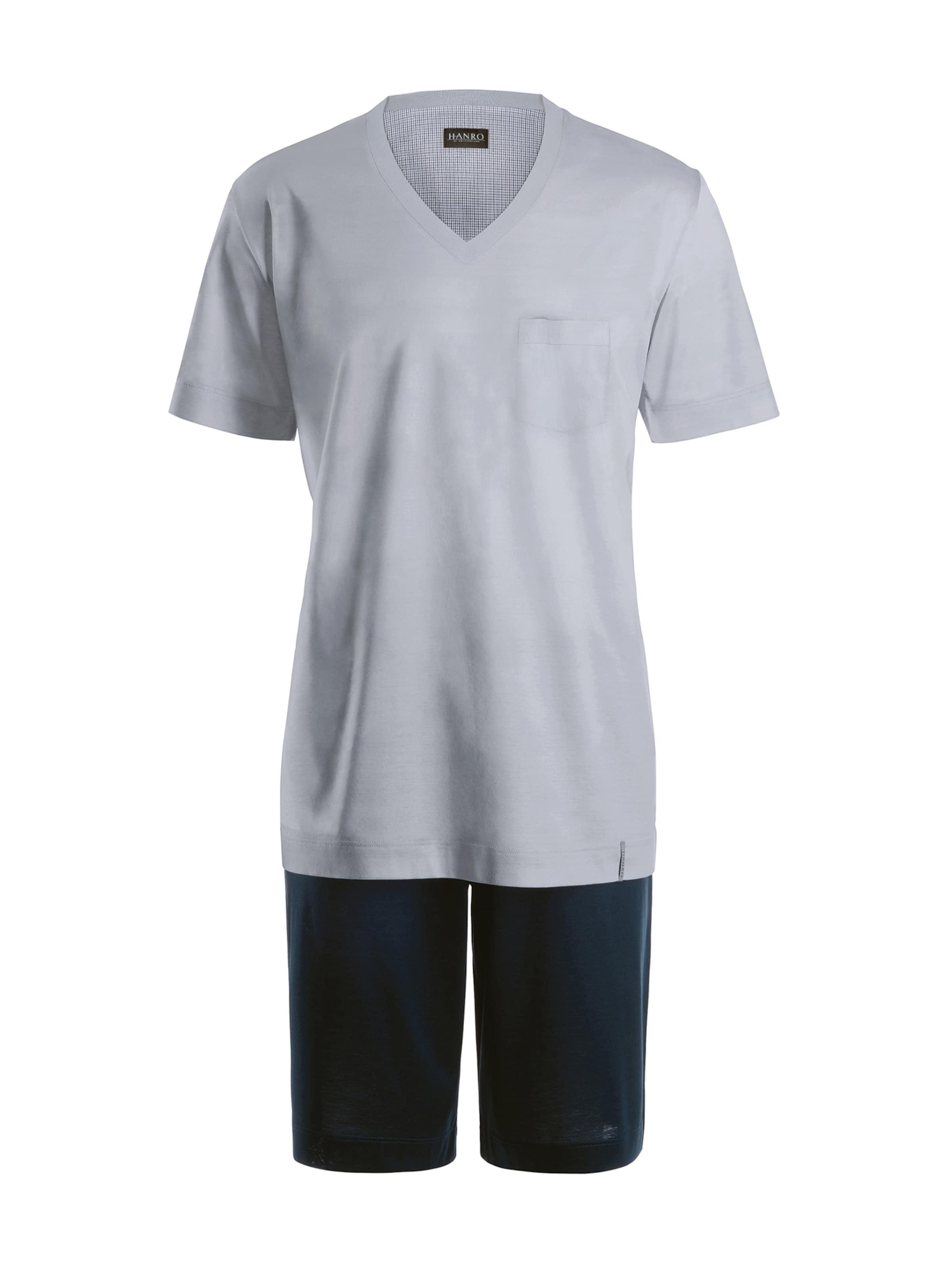 Hanro Kurzer Pyjama ' Day & Night ' in royalblau / hellgrau Jersey 45376