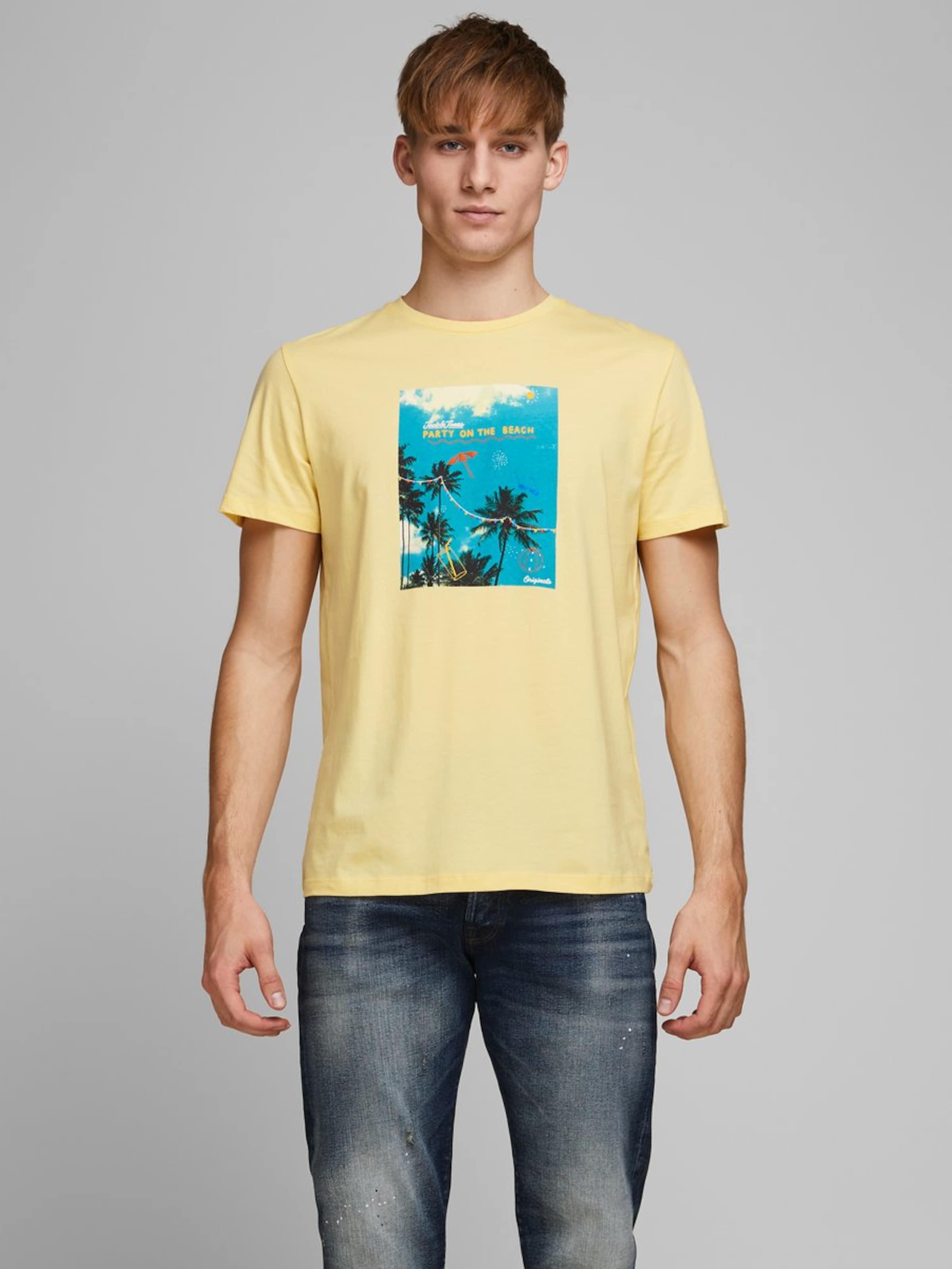JACK & JONES T-Shirt in blau / gelb Motivprint 5714509155875