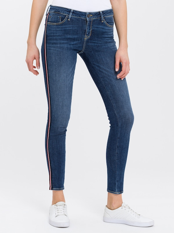 Cross Jeans Jeans 'Giselle' in dunkelblau / rot / weiß: Frontalansicht