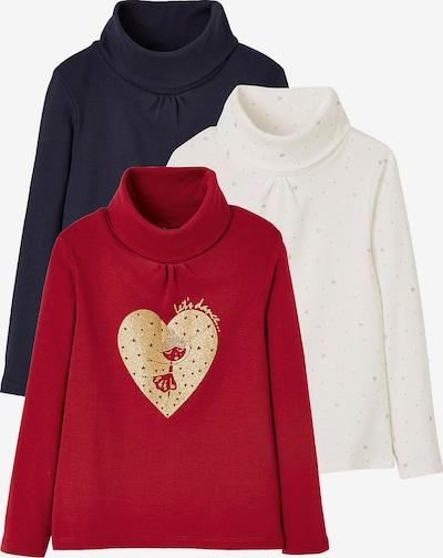 VERTBAUDET Shirts in creme / nachtblau / feuerrot, Produktansicht