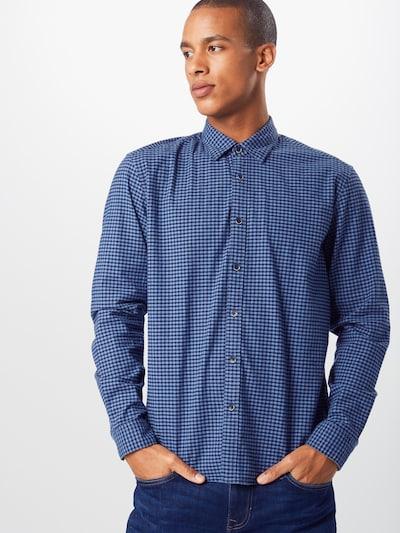 ESPRIT Overhemd 'cosy oxf chk ls' in de kleur Navy: Vooraanzicht