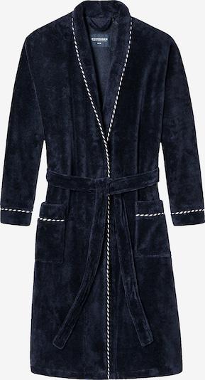 SCHIESSER Badjas lang  'Winter Blossom' in de kleur Donkerblauw / Wit, Productweergave