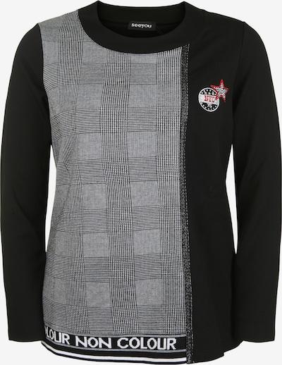 seeyou Rundhalspullover mit Muster in schwarz, Produktansicht