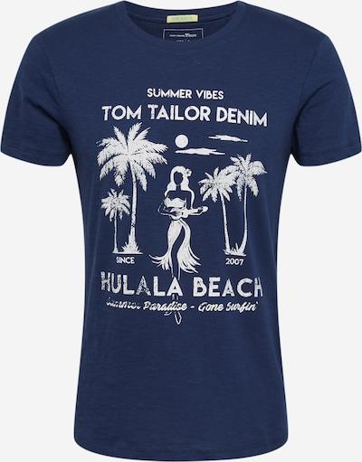 TOM TAILOR DENIM T-Shirt en bleu nuit / blanc, Vue avec produit
