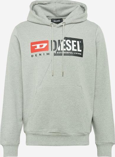 DIESEL Sweatshirt 'S-Girk-Hood-Cuty' in grau / rot / schwarz / weiß, Produktansicht