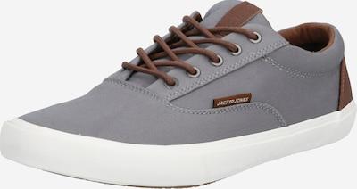 JACK & JONES Sneaker 'Vision' in dunkelbraun / hellgrau: Frontalansicht