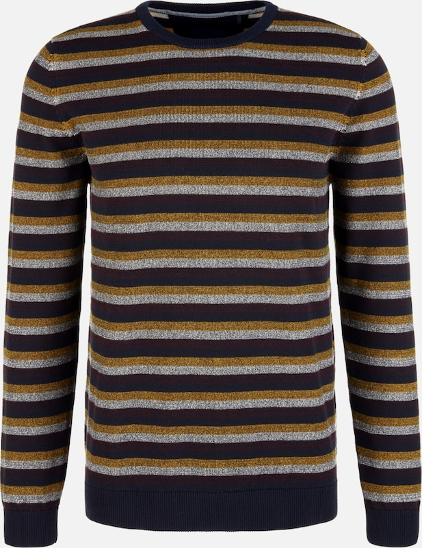 s.Oliver Pullover in dunkelblau / gold / weinrot / silber: Frontalansicht