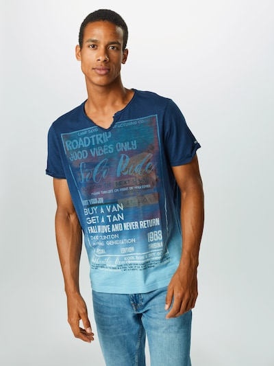 CAMP DAVID T-Shirt en bleu / bleu clair / marron / blanc: Vue de face