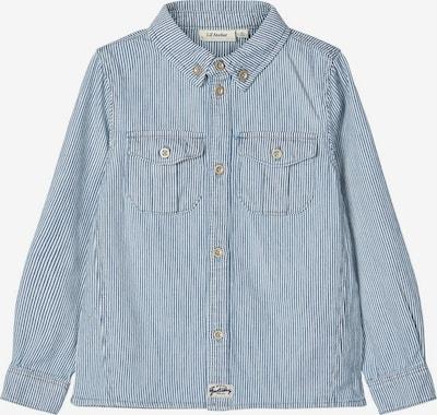 NAME IT Gestreiftes Baumwoll Hemd in blau / weiß: Frontalansicht